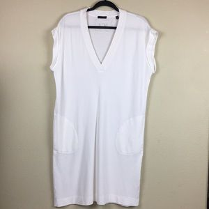 ATM White Pima Cotton V-neck T-shirt Pocket Dress